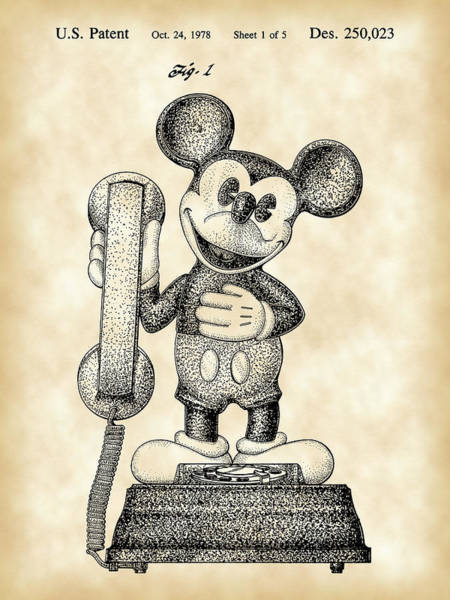 Disney World Digital Art - Mickey Mouse Telephone Patent 1978 - Parchment by Stephen Younts