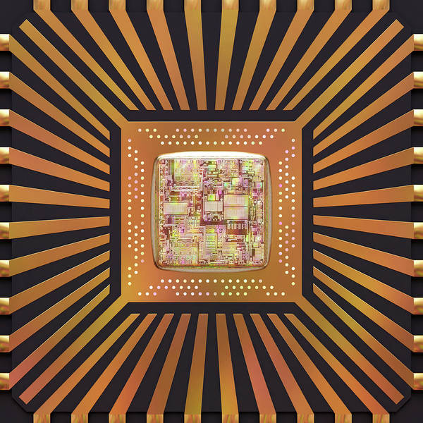 Computer Generated Wall Art - Photograph - Microchip by Ktsdesign