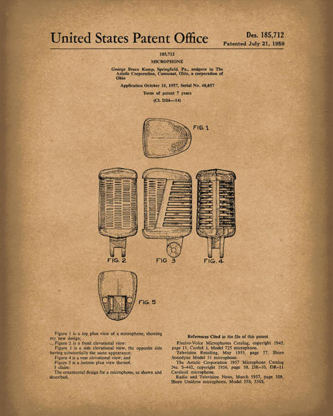 Drawing - Microphone 1959 Patent Art Brown by Prior Art Design