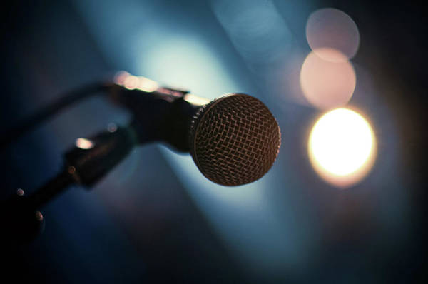 Concert Hall Photograph - Microphone Abstract Close Up In Concert by Alexandre Moreau