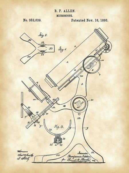 Wall Art - Digital Art - Microscope Patent 1886 - Vintage by Stephen Younts