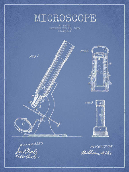 Wall Art - Digital Art - Microscope Patent Drawing From 1865 - Light Blue by Aged Pixel