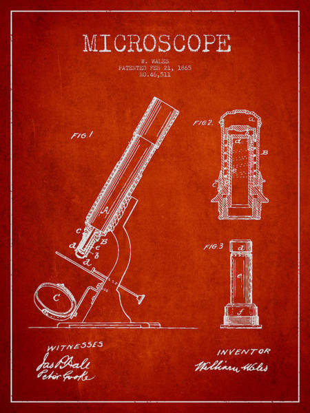 Wall Art - Digital Art - Microscope Patent Drawing From 1865 - Red by Aged Pixel