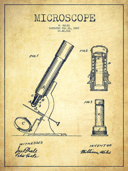 Wall Art - Digital Art - Microscope Patent Drawing From 1865 - Vintage by Aged Pixel
