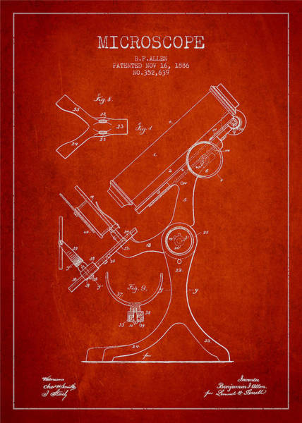 Wall Art - Digital Art - Microscope Patent Drawing From 1886 - Red by Aged Pixel