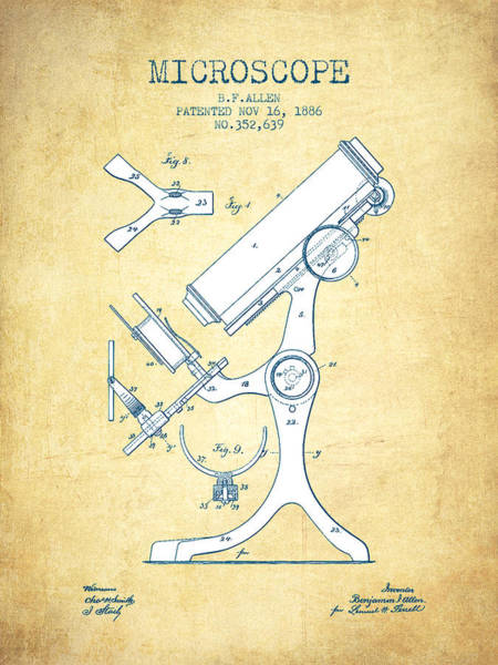 Wall Art - Digital Art - Microscope Patent Drawing From 1886 - Vintage Paper by Aged Pixel