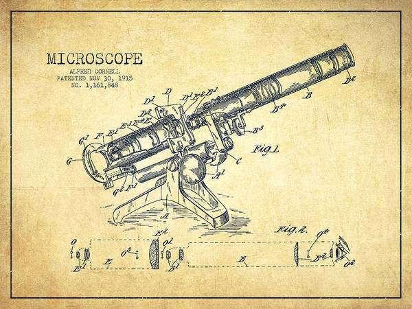 Wall Art - Digital Art - Microscope Patent Drawing From 1915-vintage by Aged Pixel