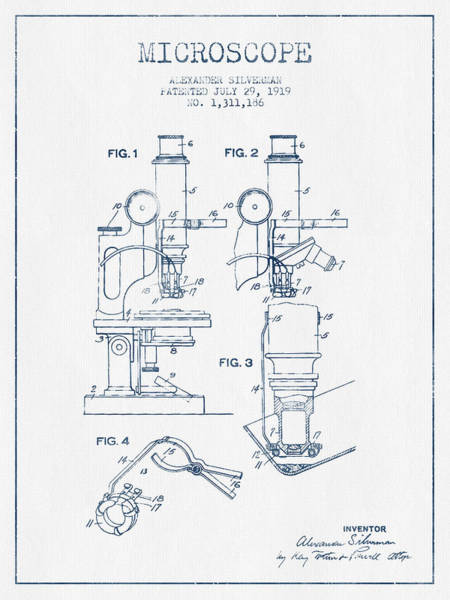 Microscope Patent Drawing From 1919 - Blue Ink Art Print by Aged Pixel