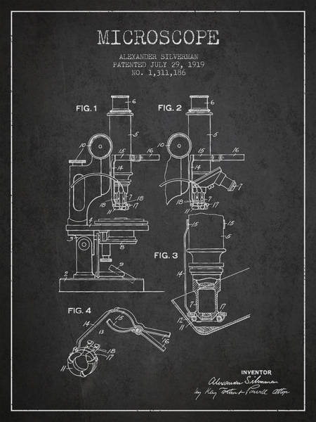 Wall Art - Digital Art - Microscope Patent Drawing From 1919- Dark by Aged Pixel