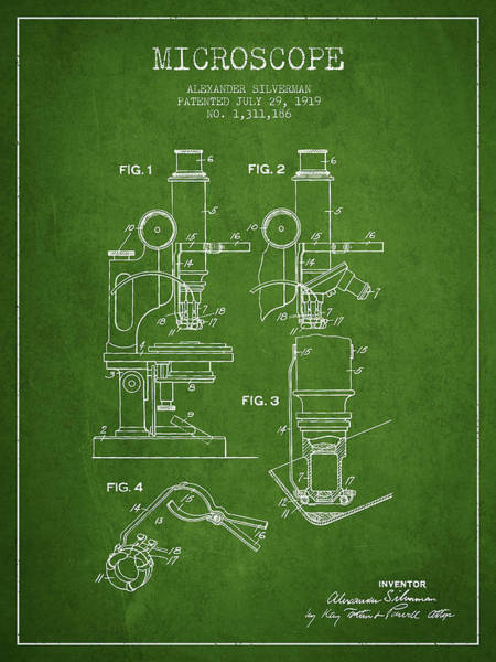 Wall Art - Digital Art - Microscope Patent Drawing From 1919- Green by Aged Pixel