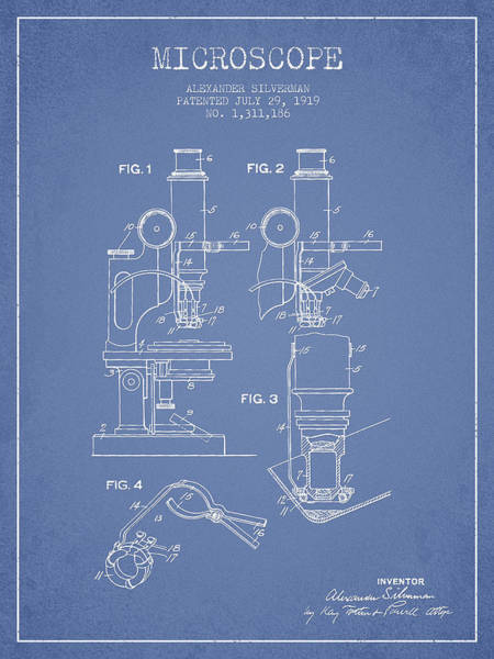 Wall Art - Digital Art - Microscope Patent Drawing From 1919- Light Blue by Aged Pixel