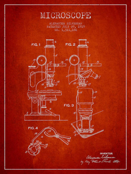 Wall Art - Digital Art - Microscope Patent Drawing From 1919- Red by Aged Pixel
