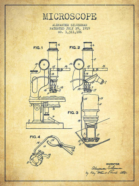 Wall Art - Digital Art - Microscope Patent Drawing From 1919- Vintage by Aged Pixel