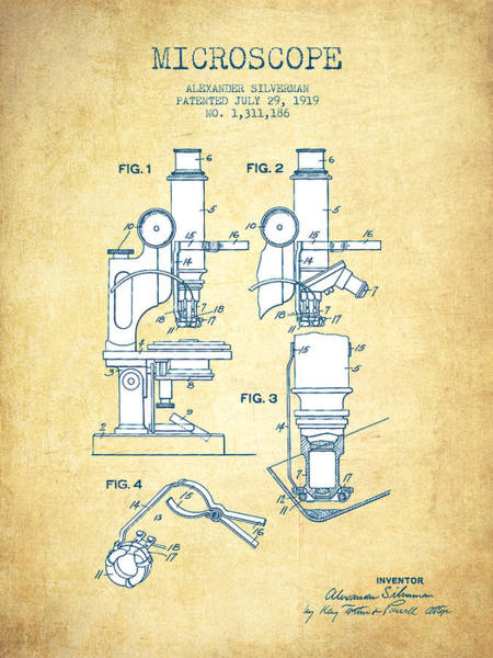 Wall Art - Digital Art - Microscope Patent Drawing From 1919- Vintage Paper by Aged Pixel