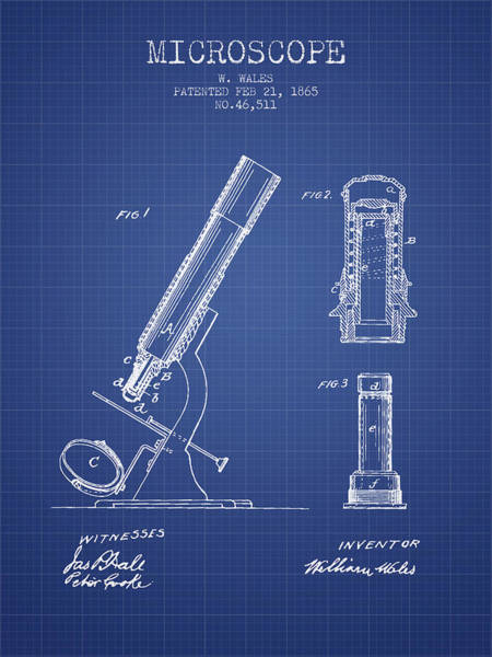 Wall Art - Digital Art - Microscope Patent From 1865 - Blueprint by Aged Pixel