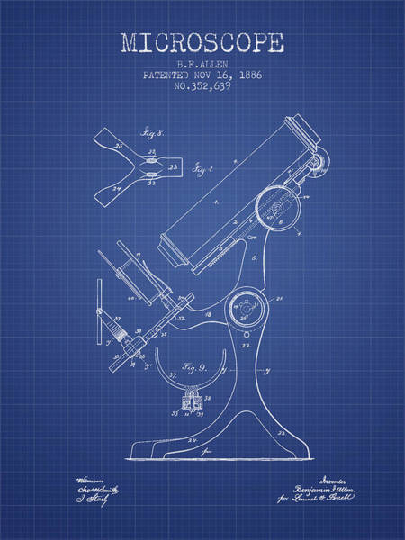 Microscope Wall Art - Digital Art - Microscope Patent From 1886 - Blueprint by Aged Pixel