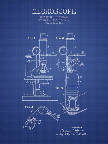 Wall Art - Digital Art - Microscope Patent From 1919 - Blueprint by Aged Pixel