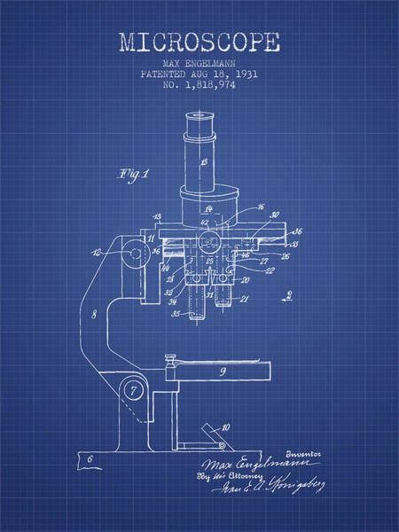 Microscope Wall Art - Digital Art - Microscope Patent From 1931 - Blueprint by Aged Pixel