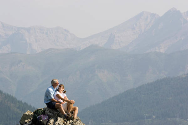 All Together Photograph - Mid-aged Couple Enjoy View From Peak by Henry Georgi