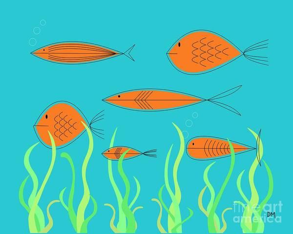 Seaweed Digital Art - Mid Century Fish 2 by Donna Mibus