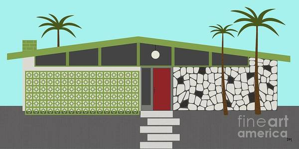 Palm Trees Digital Art - Mid Century Modern House 4 by Donna Mibus