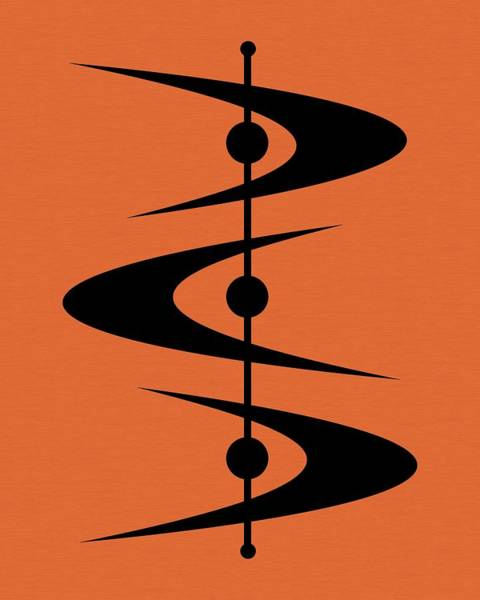 Digital Art - Mid Century Shapes 3 On Orange by Donna Mibus