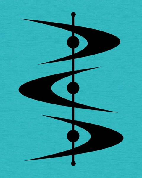 Wall Art - Digital Art - Mid Century Shapes 3 On Turquoise by Donna Mibus