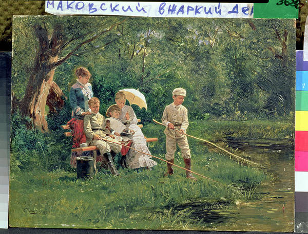 Outing Photograph - Midday Sun, 1881 Oil On Canvas by Vladimir Egorovic Makovsky