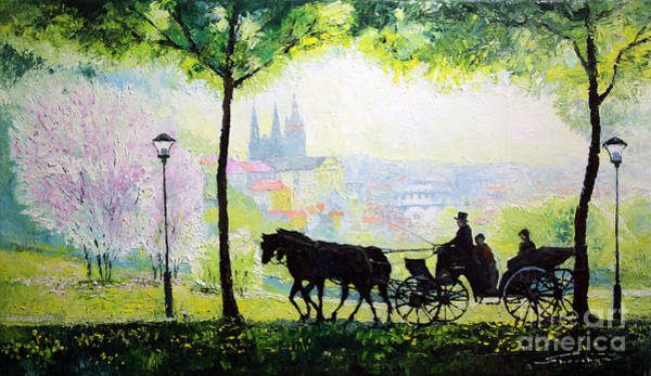 Carriages Painting - Midday Walk In The Petrin Gardens Prague by Yuriy Shevchuk
