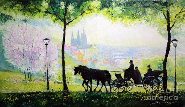 Carriage Painting - Midday Walk In The Petrin Gardens Prague by Yuriy Shevchuk