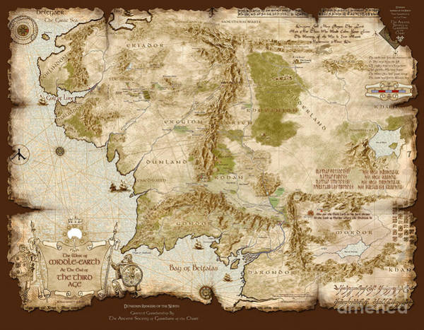 Wall Art - Digital Art - Middle-earth Map Burnt-edges by Anthony Forster