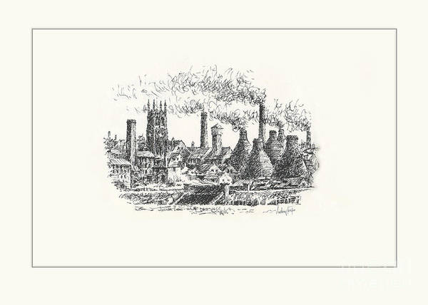 Wall Art - Drawing - Middleport Skyline by Anthony Forster