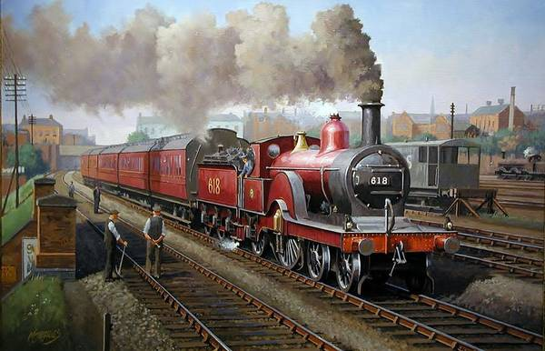 Vintage Train Painting - Midland Railway Single 1896. by Mike Jeffries