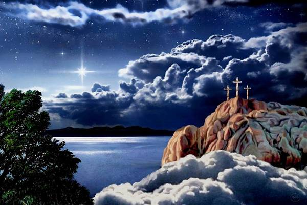 Redemption Painting - Midnight At Calvary by Ron Chambers