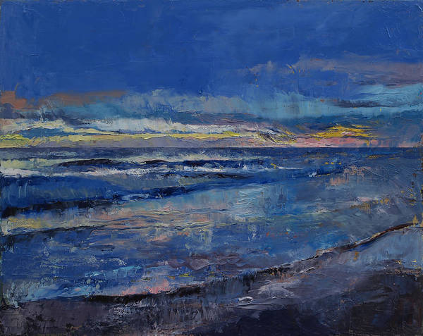 Blue Wave Painting - Midnight Blue by Michael Creese