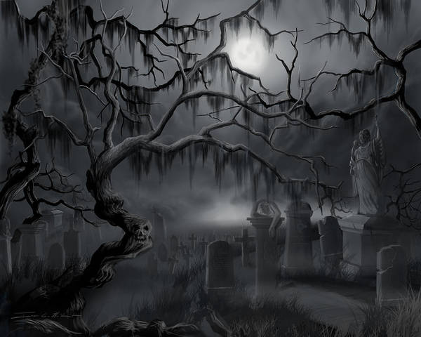 Painting - Midnight In The Graveyard  by James Christopher Hill