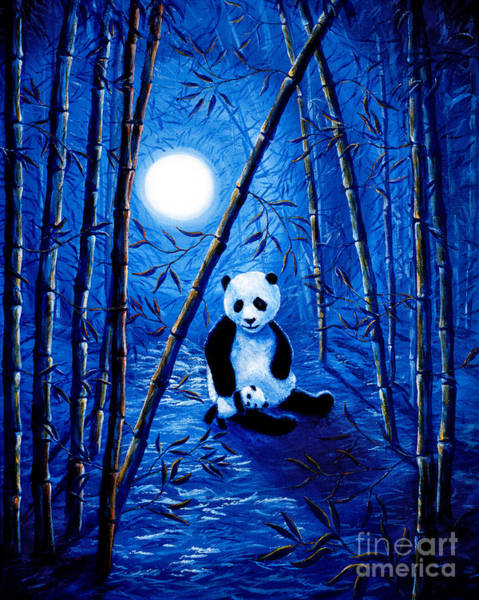 Wall Art - Painting - Midnight Lullaby In A Bamboo Forest by Laura Iverson