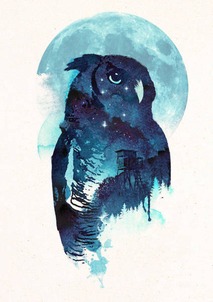Bird Watercolor Mixed Media - Midnight Owl by Robert Farkas