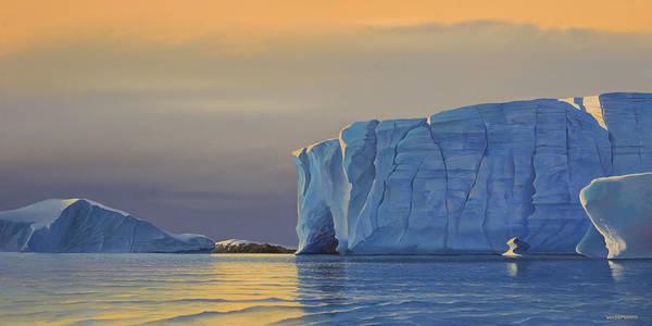 Painting - Midnight Sun Icebergs At Sunset by Cliff Wassmann