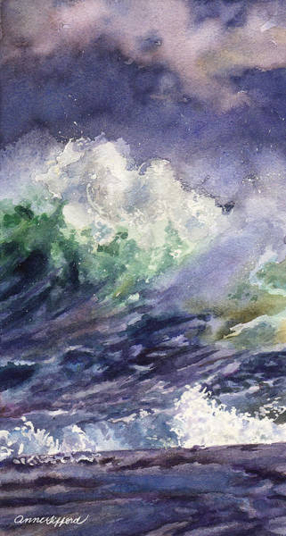 Wall Art - Painting - Midnight Surf by Anne Gifford