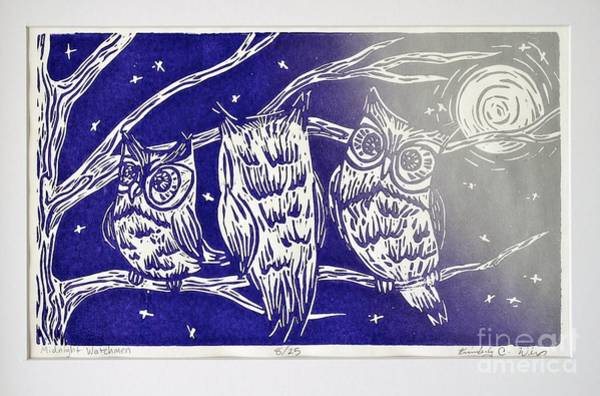 Linoleum Mixed Media - Midnight Watchmen by Kimberly Wix