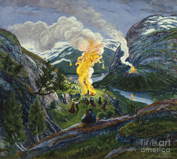 Bonfire Wall Art - Painting - Midsummer Fire by Nikolai Astrup