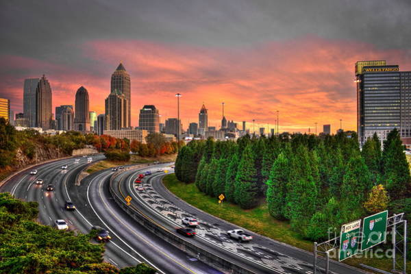 Georgia Power Company Photograph - Midtown Atlanta Autumn Sunset Art    by Reid Callaway