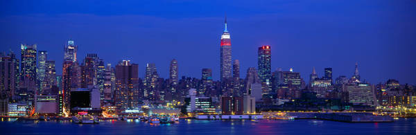 N.c Wall Art - Photograph - Midtown Manhattan From Nj, Night, New by Panoramic Images