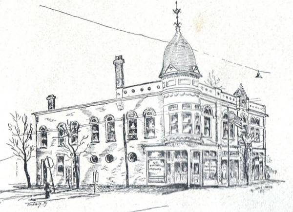 Drawing - Midway Post Office by David Neace