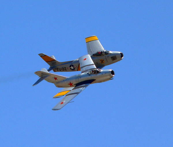 Photograph - Mig 15 And F86 Sabre by Jeff Lowe