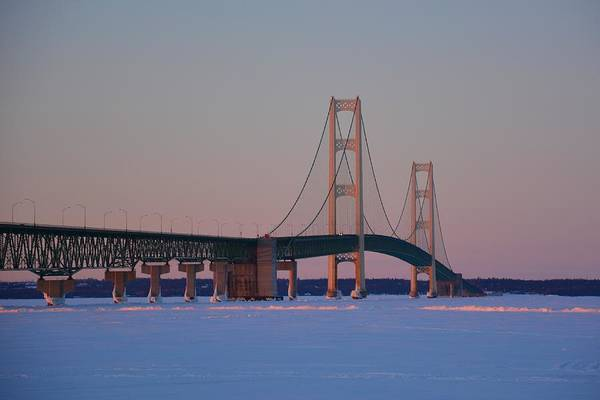 Photograph - Mighty Mac Winter Sunset by Keith Stokes