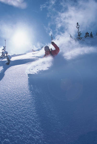 Uinta Photograph - Mike Carving Fresh Snow In Big by Howie Garber