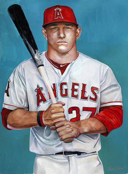 Trout Watercolor Wall Art - Painting - Mike Trout - La Angels Of Anaheim by Michael Pattison