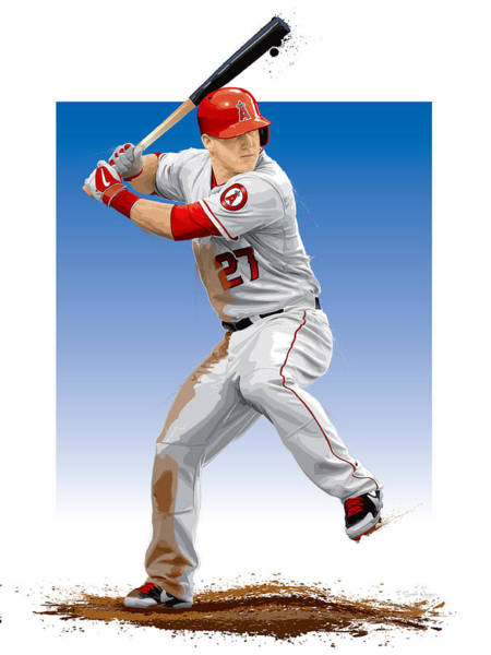 Outfield Wall Art - Digital Art - Mike Trout by Scott Weigner